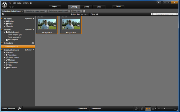 HD Video Clips in Import Library in Avid Studio